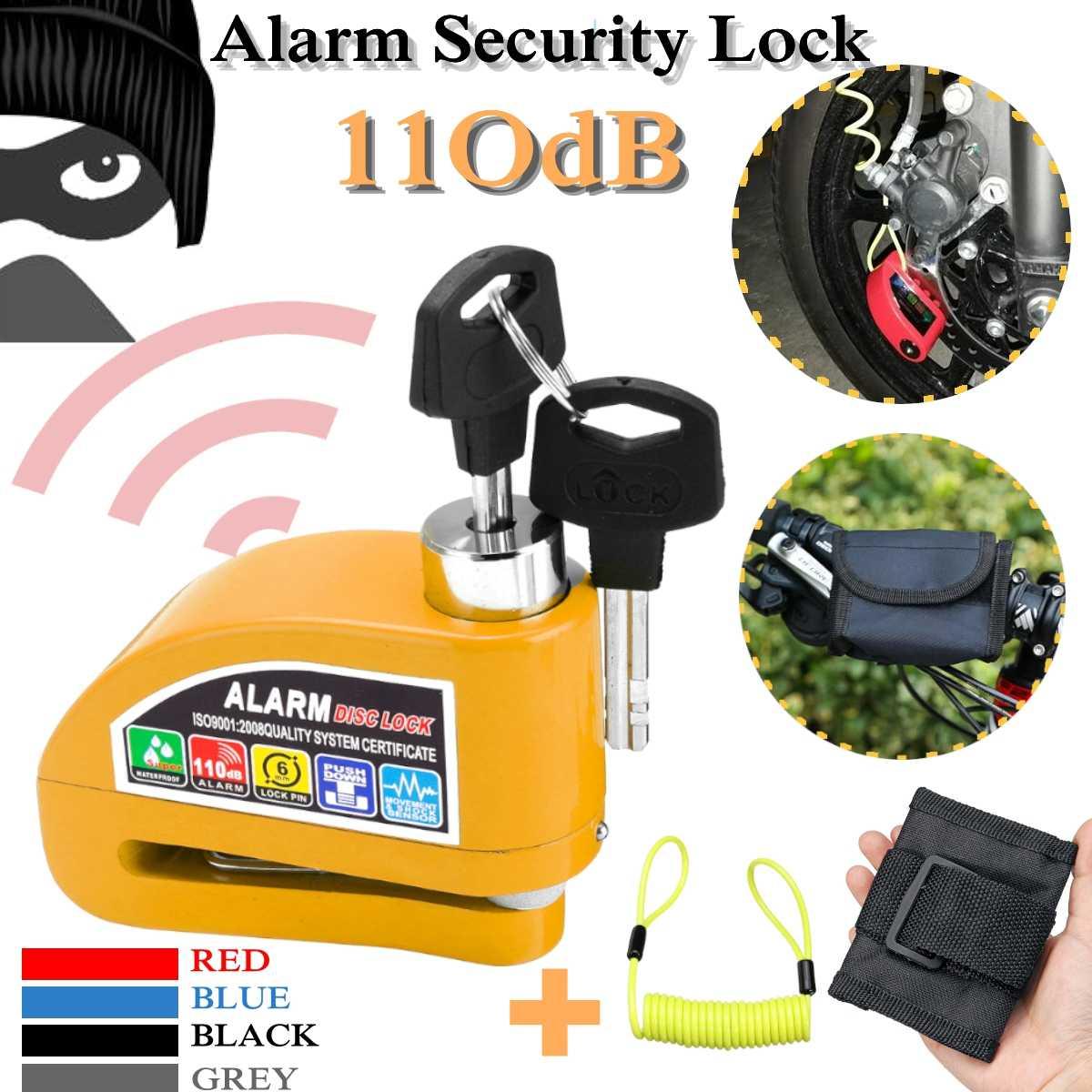 Security Anti-theft Wheel Disc Brake Lock Alarm Reminder Cable Bag Black  F
