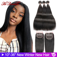 Hair-Bundles Closure Ali Annabelle Straight Brazilian Remy with 36'' 30-32 34