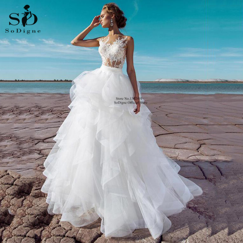 Ball Gown Wedding Dresses 2020 Sexy Tulle Sleeveless Long Bridal Dress Vestidos de Noivas Plus Size Bridal Wedding Gowns