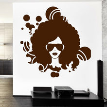 American Afro Girl Wall Decal For Music Classroom Black Disco Guaranteed Quality Vinyl Wall Sticker Decor Bar Living Room W637(China)