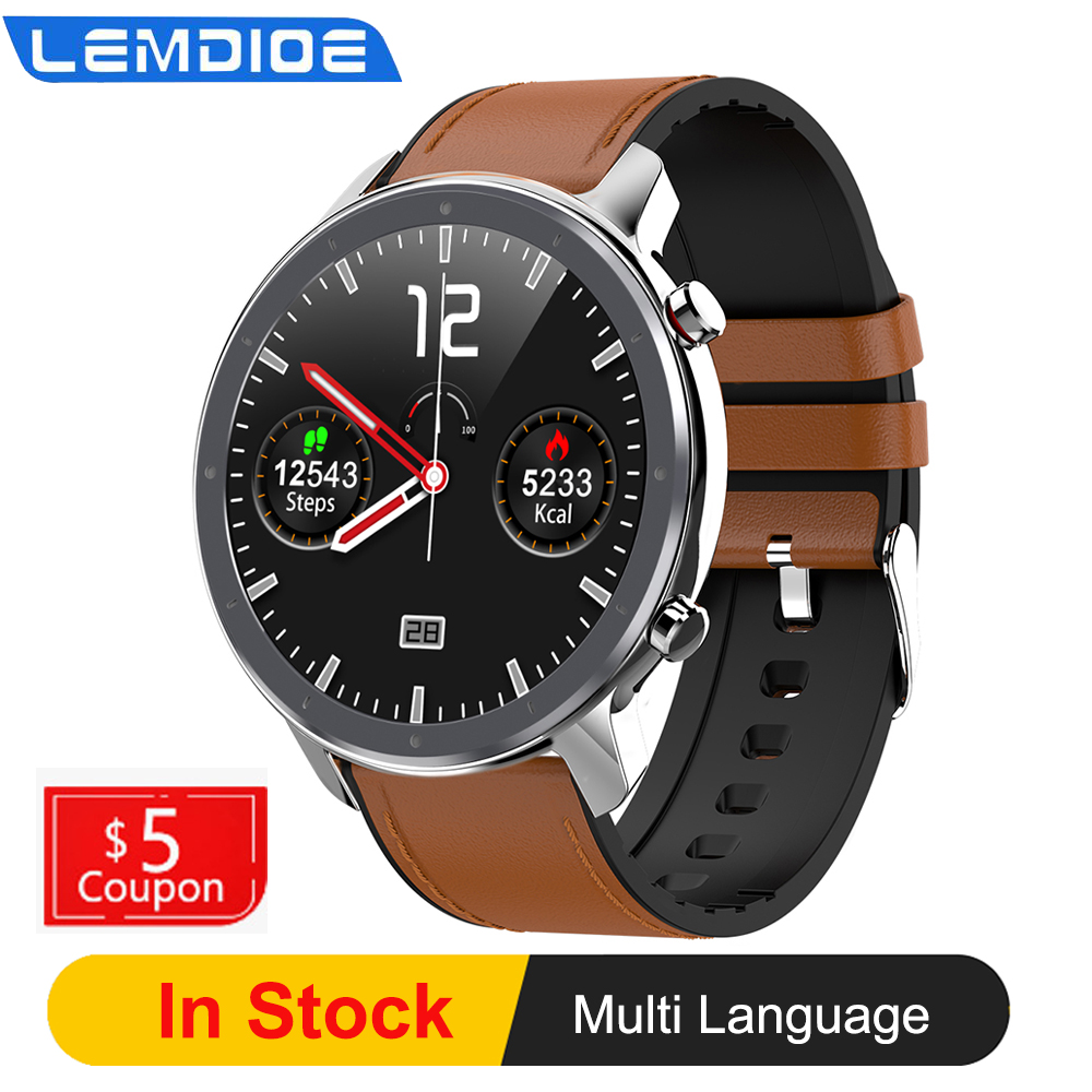 LEMDIOE Smart Watch Men Full Round Touch Screen ECG Heart Rate Blood Pressure Oxygen Weather Smartwatch VS L9 DT78 title=