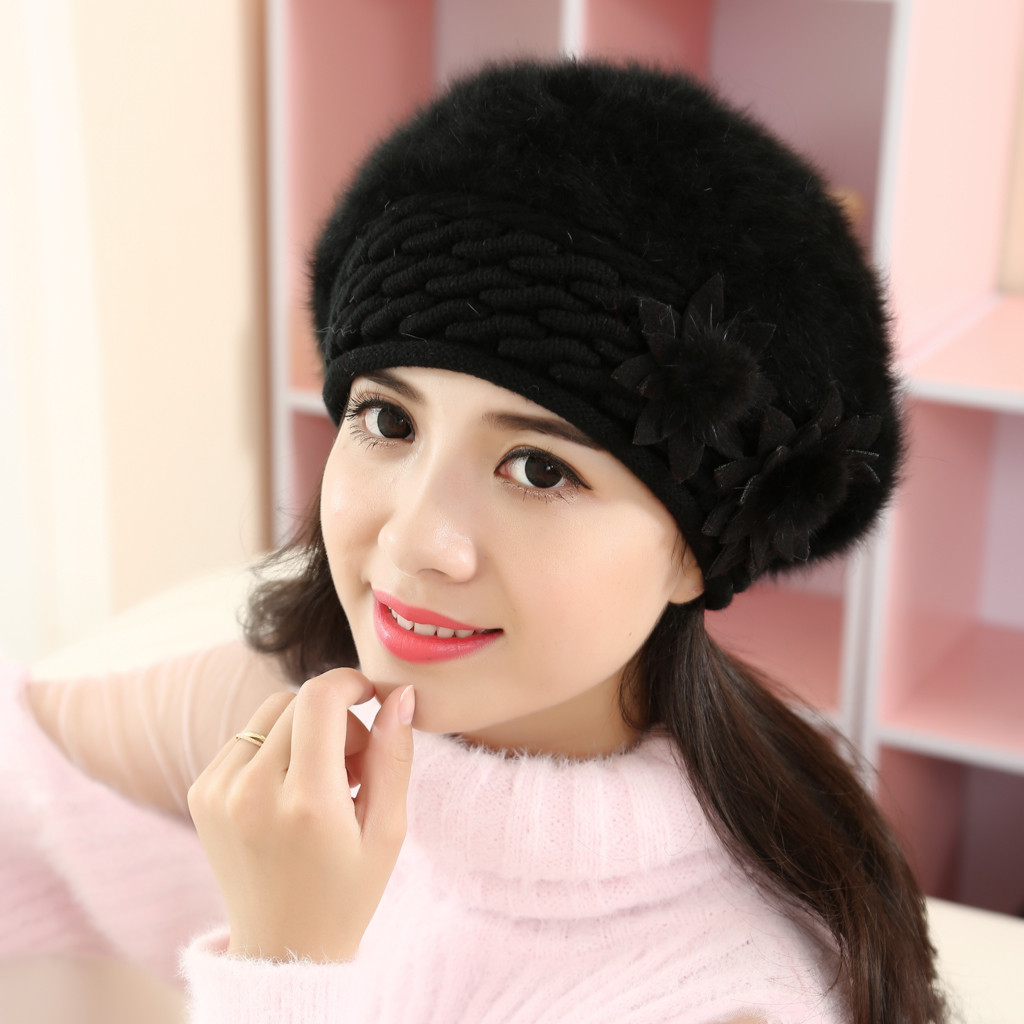 Women Beret Wool Warm Winter Beanie Felt Casual Soft Solid Classic-Style Floral Keep-Thicken title=