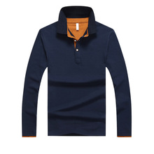 Polo-Shirt Long-Sleeve Casual Camisa Male Spring Cotton Slim Men Soild