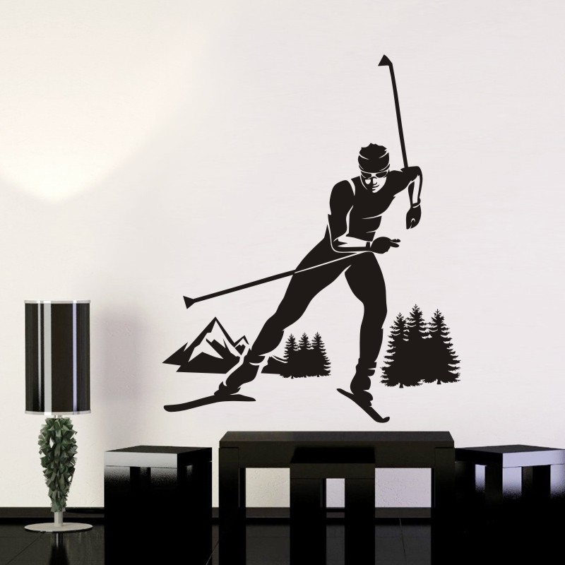 DCTAL Ski Car Sticker Snowboarding Mountain Forest Decal Skiing Posters Board Vinyl Wall Decals Pegatina Decor Mural Ski Sticker