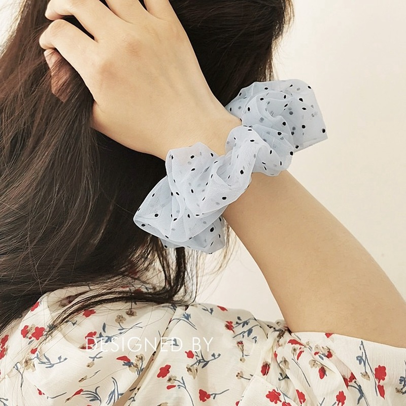 Organza Small Dot Daisy Scrunchies Hair Bands for Women Girls Lady Elastic Lace Hairties Hairbands Headwear Ponytail Holder