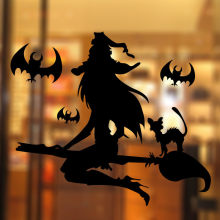Bat Witch Black Cat Wall Stickers For Shop Home Decoration Diy Window Decals Halloween Festival Vinyl Poster Mural Art Kids Gift(China)