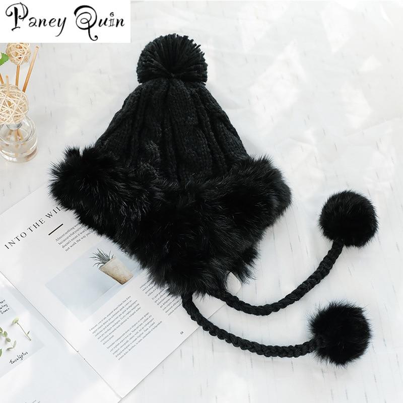 Rabbit Fur Hat For Women Fluffy Earflap Ear Caps Skiing Ear protection ball Headgear warm Beanies knit hat fur bomber HAT women