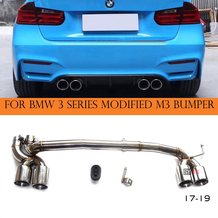 A set stainless steel/ Carbon Fiber Bilateral Double Out Exhaust MufflerTip fit BMW 3 series 320 moified with M3 bodykit in 201 title=