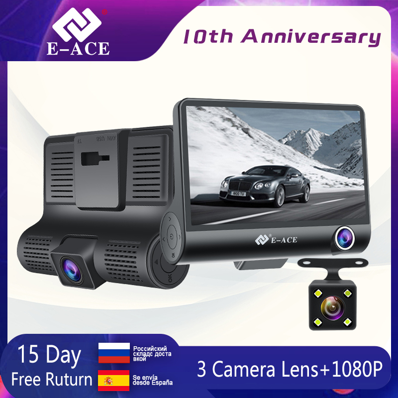 E-ACE Car DVR Registrator Video-Recorder Dash-Camera Mini FHD 1080P 3  title=