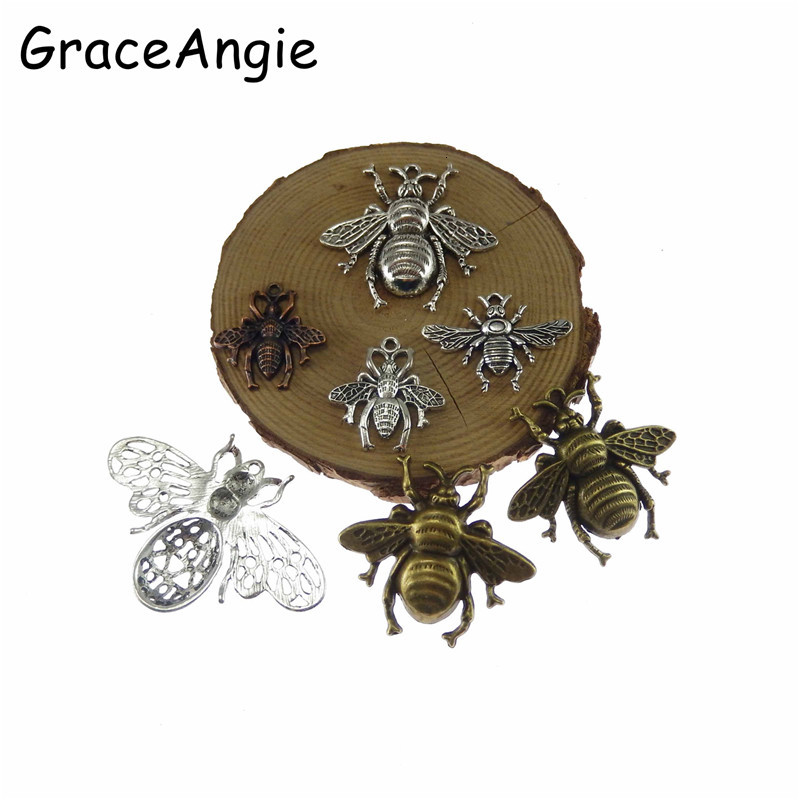 Plata tibetana Artesanía Joyería Honeybee abejas Encantos Colgantes 38x40mm 5 un