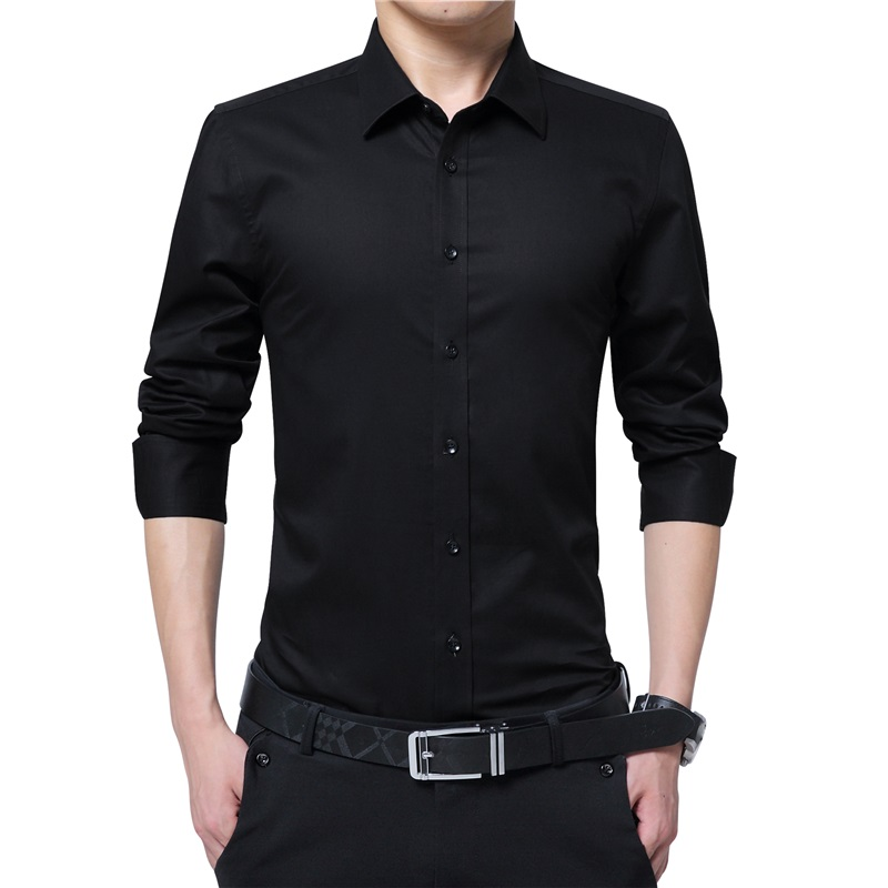 Men Dress Shirt Fashion Long Sleeve Business Social Shirt Male Solid Color Button Down Collar Plus Size Work White Black Shirt