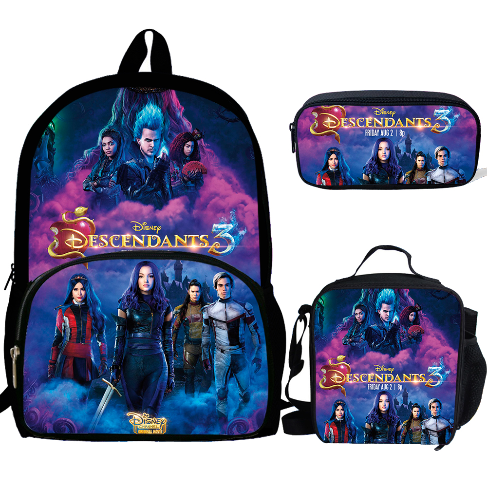 CALOPAKER School-Bag-Set Descendants Teenagers Girls Boys Travel Student 3PCS Backpack title=