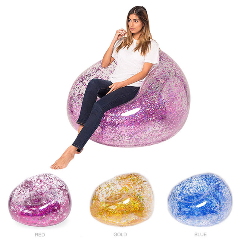 Outdoor Confetti Glitter Inflatable Lounger Lazy Bag Air Sofa Waterproof Rose Gold Glitter Inflatable Chair Air Bed Sleeping Bag title=