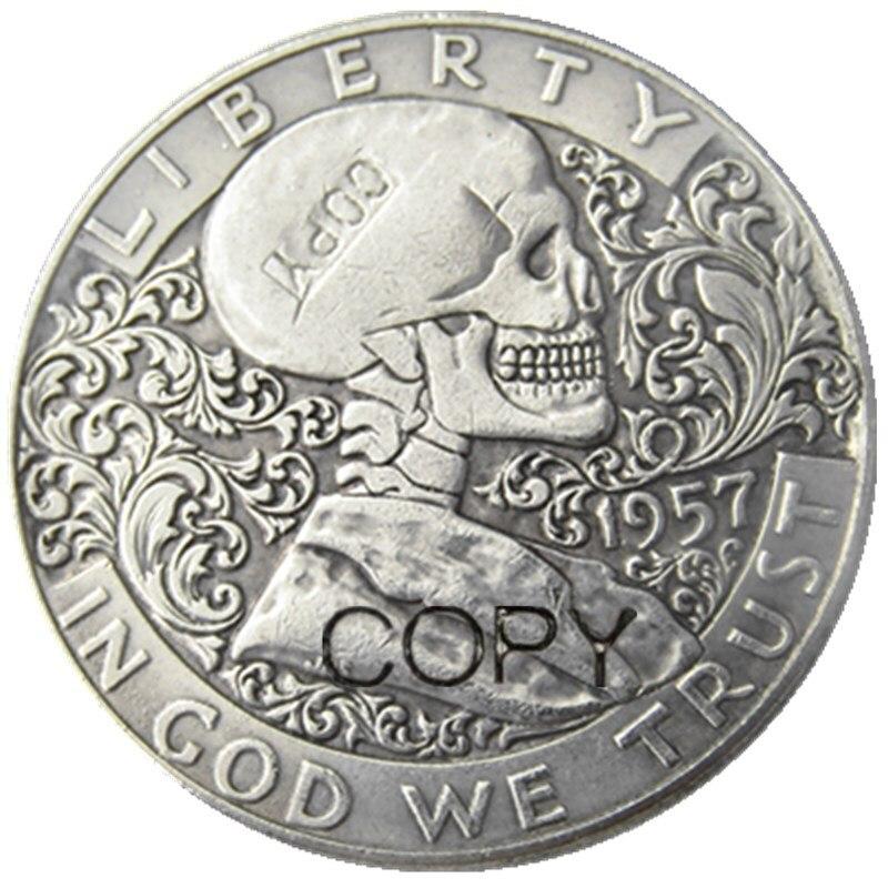 HOBO Creative 1961 Franklin Silver Half Dollar Skull Hooded Zombie Skeleton Coin