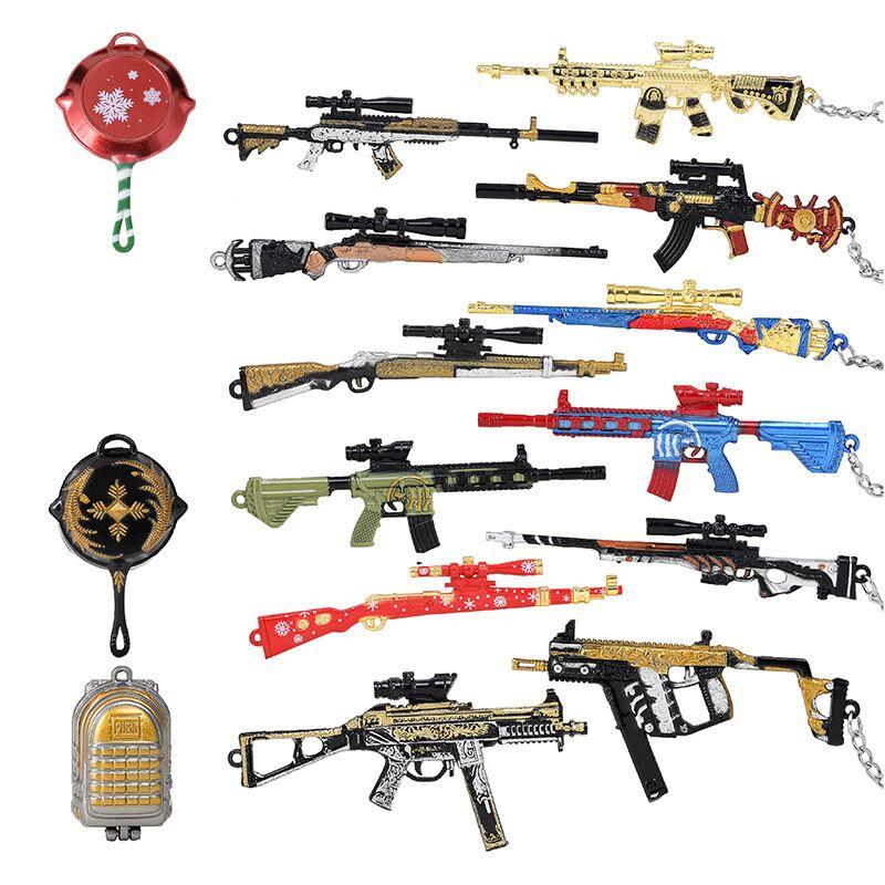 Creative Game Mini Player 3D Gun Weapon Keychain Men/'s Car Key Rings Gifts