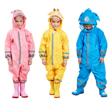 Children Raincoat Waterproof Jumpsuit Hooded Girls One-Piece Baby Outdoor Kids Cartoon