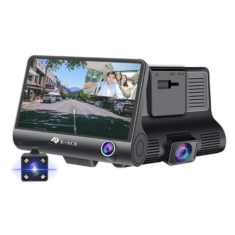 E-ACE Dashcam B28 Автомобильные видеорегистраторы 4 дюймов Автомобильная камера FHD 1080P Авто регистратор видеорегистратор 3 камеры объектив регистратор с камерой заднего вида