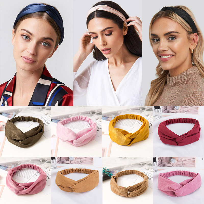 38 Colors Cross Top Knot Headband For Women Girl Hair Bands Solid Elastic Twist Headbands Fashion Cross Hair Accessories Turban