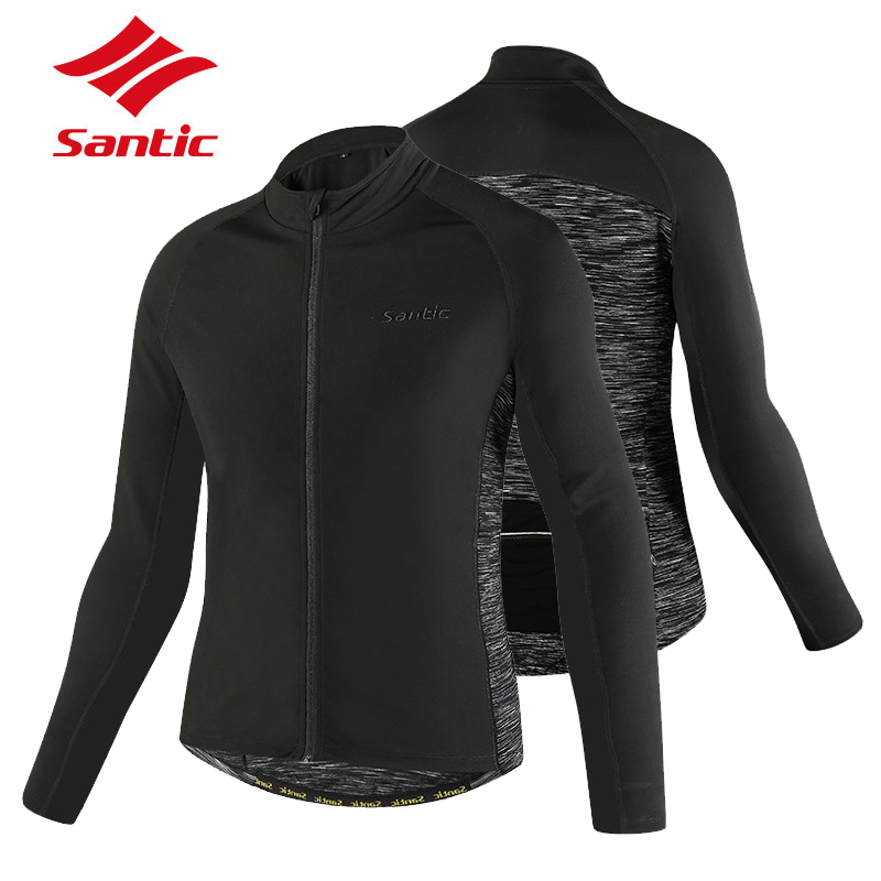 Santic Men Winter Warm Cycling Jacket Windproof Thermal Fleece Coat Black Gray