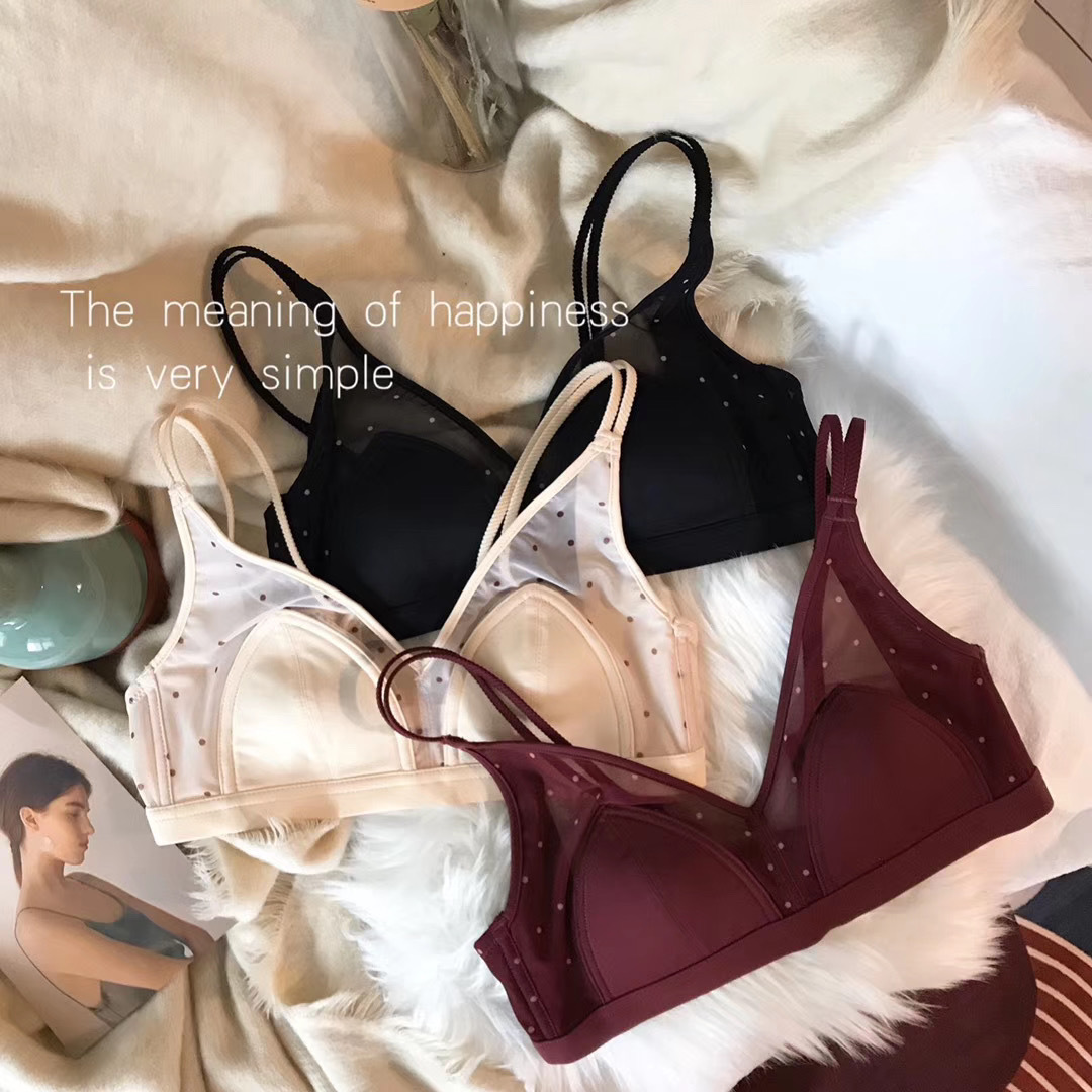 French retro  women/'s bra  mesh yarn wave point bralette  ultra-thin  Wire Free lace underwear  Small chest push up bras