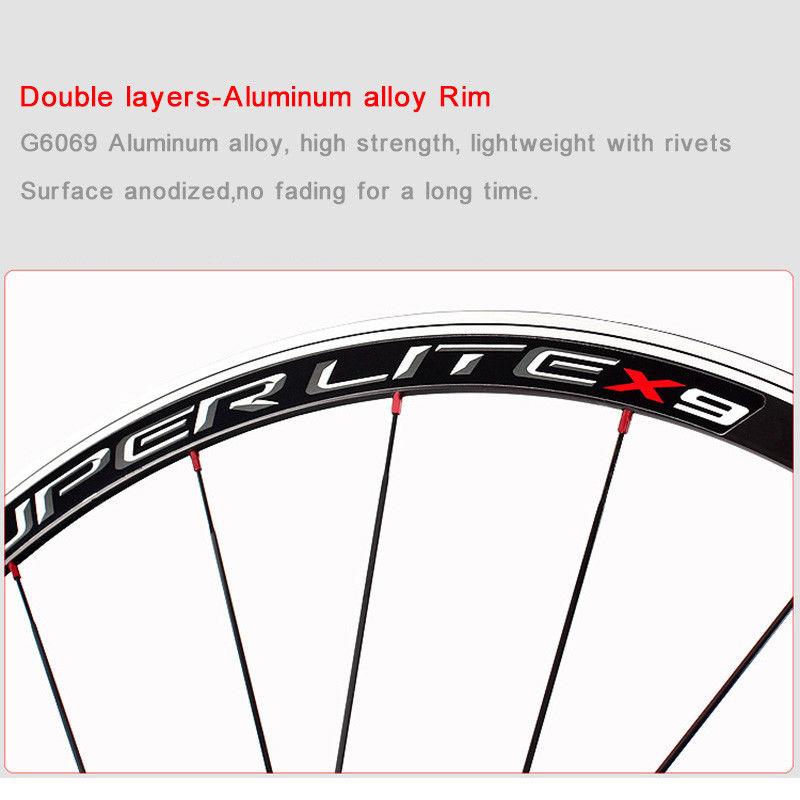 RXR 700C Bike Wheelset Carbon Hub Road Bike Bicycle F&R Wheels Wheelset Clincher Sealed Bearings 7-11 Speed V Brake (12)