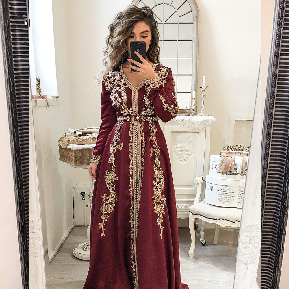 Muslim Evening Dresses A Line V-neck Long Sleeves Chiffon Dubai Abaya Saudi Arabic Moroccan Long Evening Gown Prom Dresses Prom