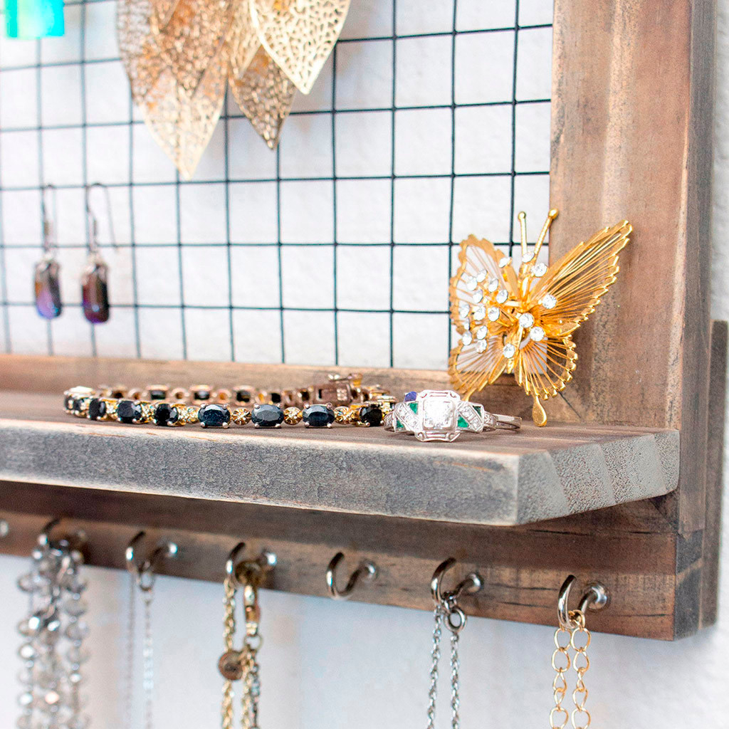 Rustic Brown Jewelry Organizer Wooden Wall Mounted Holder For Earrings Necklace Comfortable Warmth Quality  Fashion elegant