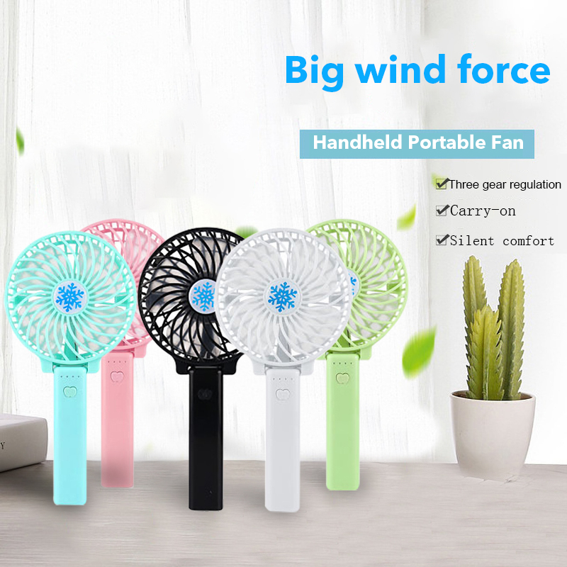 ZQ USB Rechargeable Desktop Fan with Base,Silent Large Wind Portable Mini Handheld Cooling Fan,C