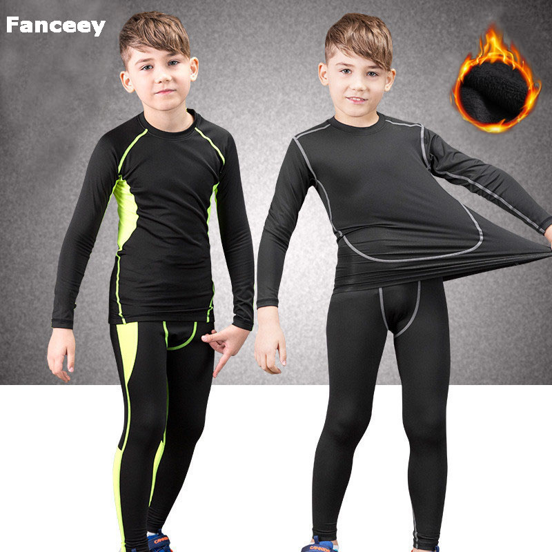 Fanceey Winter Children Thermal Underwear Compression Set Warm Thermo Underwear Boys Kids Long Johns Girls Lucky Johns Fitness title=
