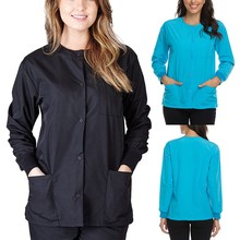Jacket Blouse Clothing Working-Uniform Pocket-Nursing Beauty Women Tops Long-Sleeve