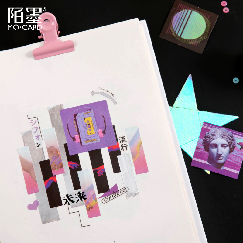 46 pcs/box Night Buoyancy Series Decorative Stationery ins Stickers Scrapbooking DIY Diary Album Retro Stick Lable