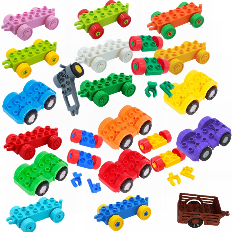 Legoing Duplo City Building & Construction Toy Cartoon Car Truck Chassis Blocks City Duplo Toys & Hobbies Legoings Children Gift