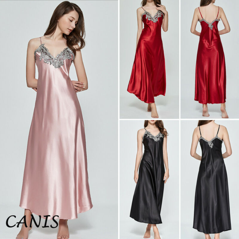 Sexy Lingerie Nightgown Sleepwear Sleepshirts Satin Long Nightdress Oversize Silk Women title=