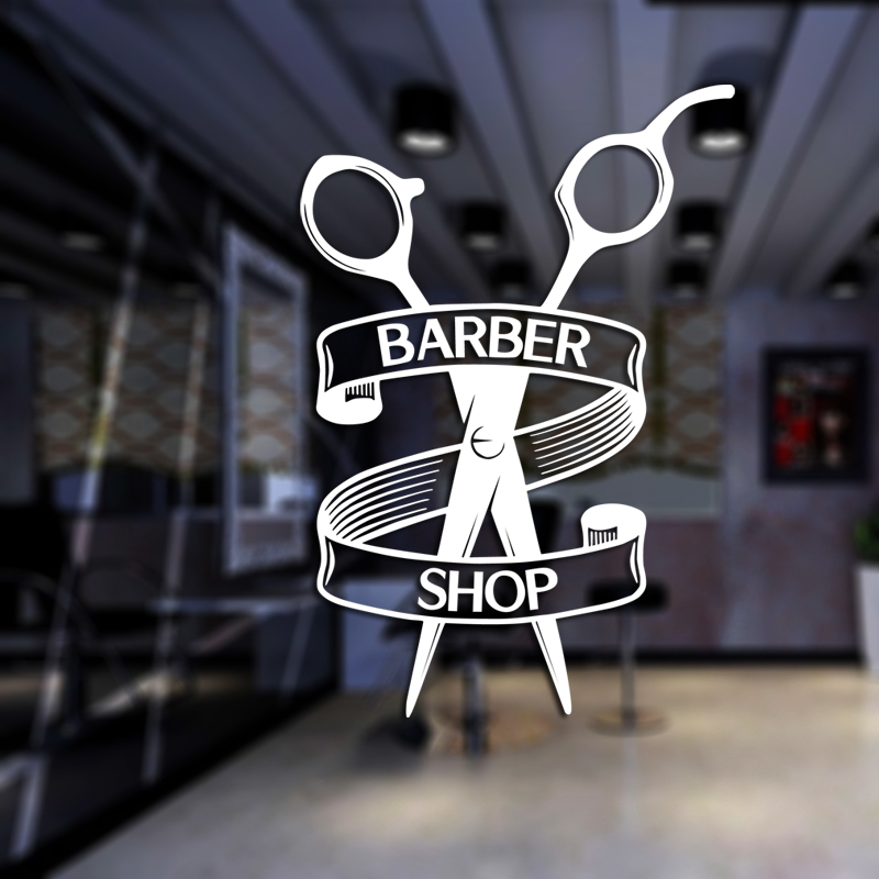 Barber Shop Sticker Chop Bread Decal Haircut Shavers Posters Vinyl Wall Art Decals Decor Windows Decoration Mural Mb0053