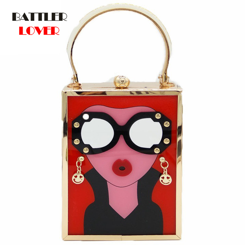 Bags for Women 2019 Fashion Totes Handbags White Acrylic Evening Purse Glasses Girls Chain Clutch Vintage Party Crossbody Bag
