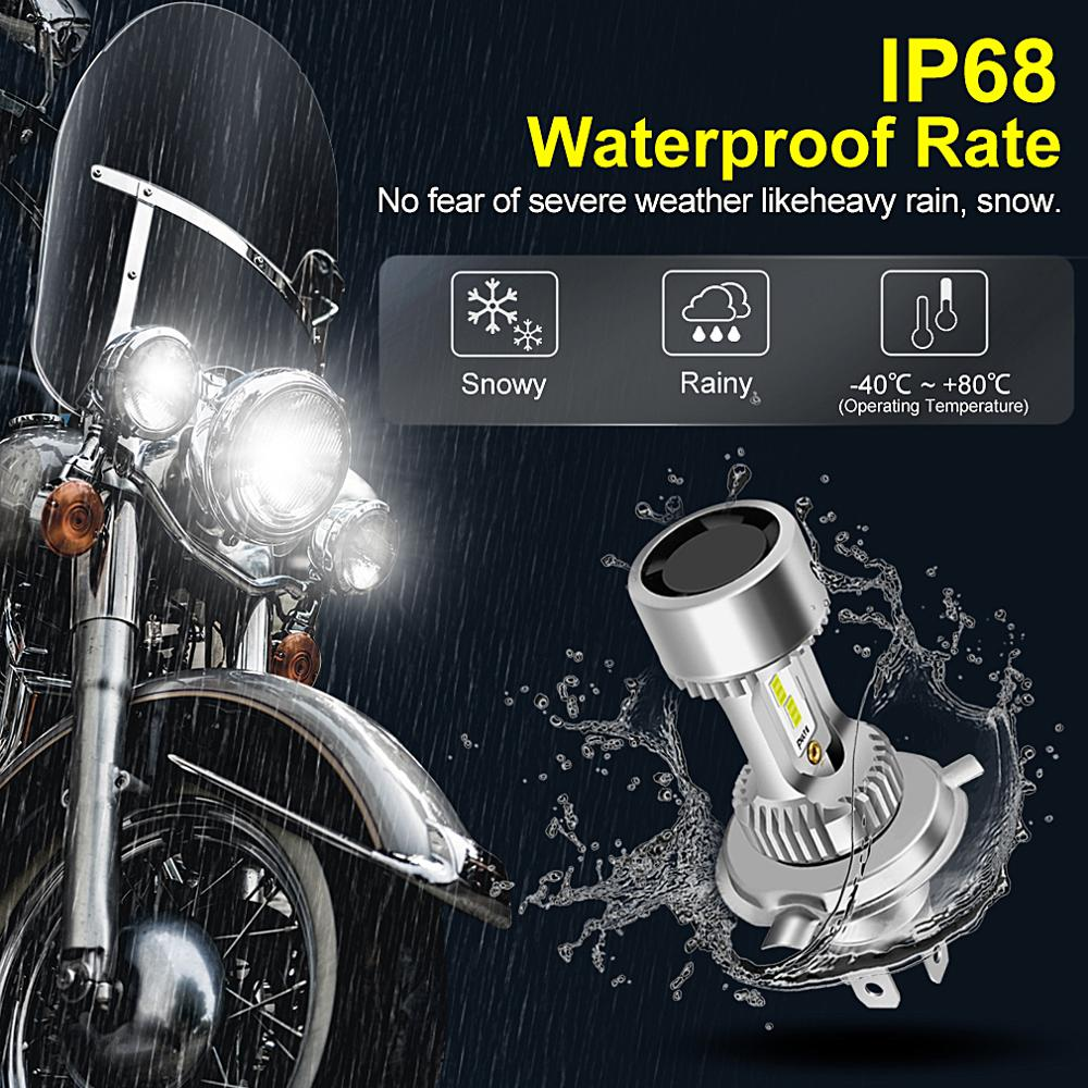 Motorcycle H4 BA20D LED Headlight Blubs with Fan 20W 6000K Moto Light CSP Chips Scooter Accessoire Motobike LED Head Lamp