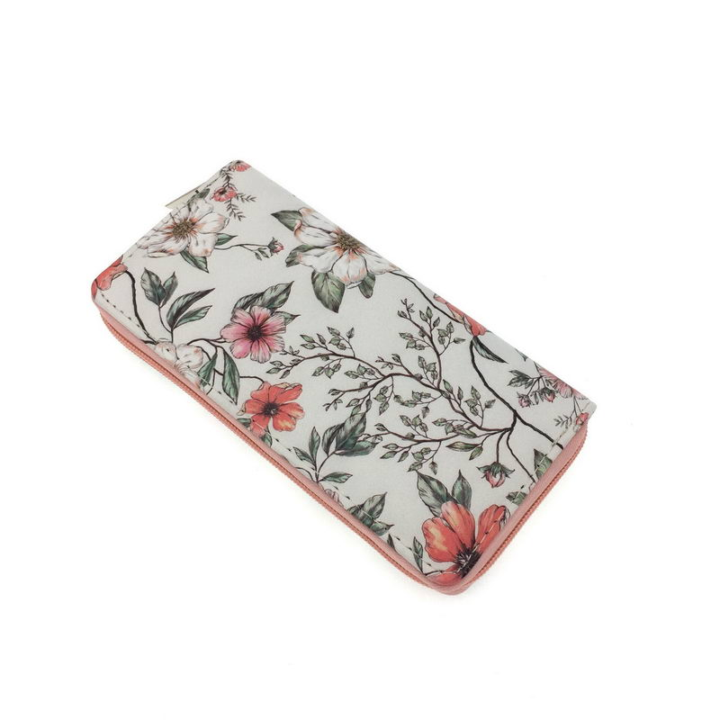 Womens Zip Around Wallet and Phone Clutch,Watercolor Pattern With Rose Print,Travel Purse Leather Clutch Bag Card Holder Organizer Wristlets Wallets