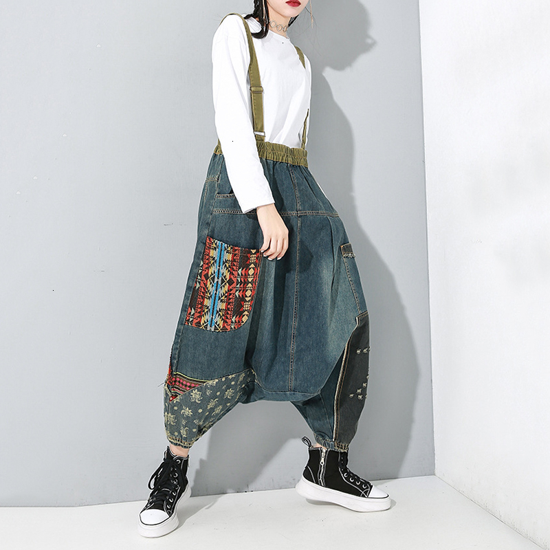 High Waist Blue Patter Split Joint Wide Leg Overalls Trousers New Loose Fit Pants Women Fashion Spring Autumn 2020