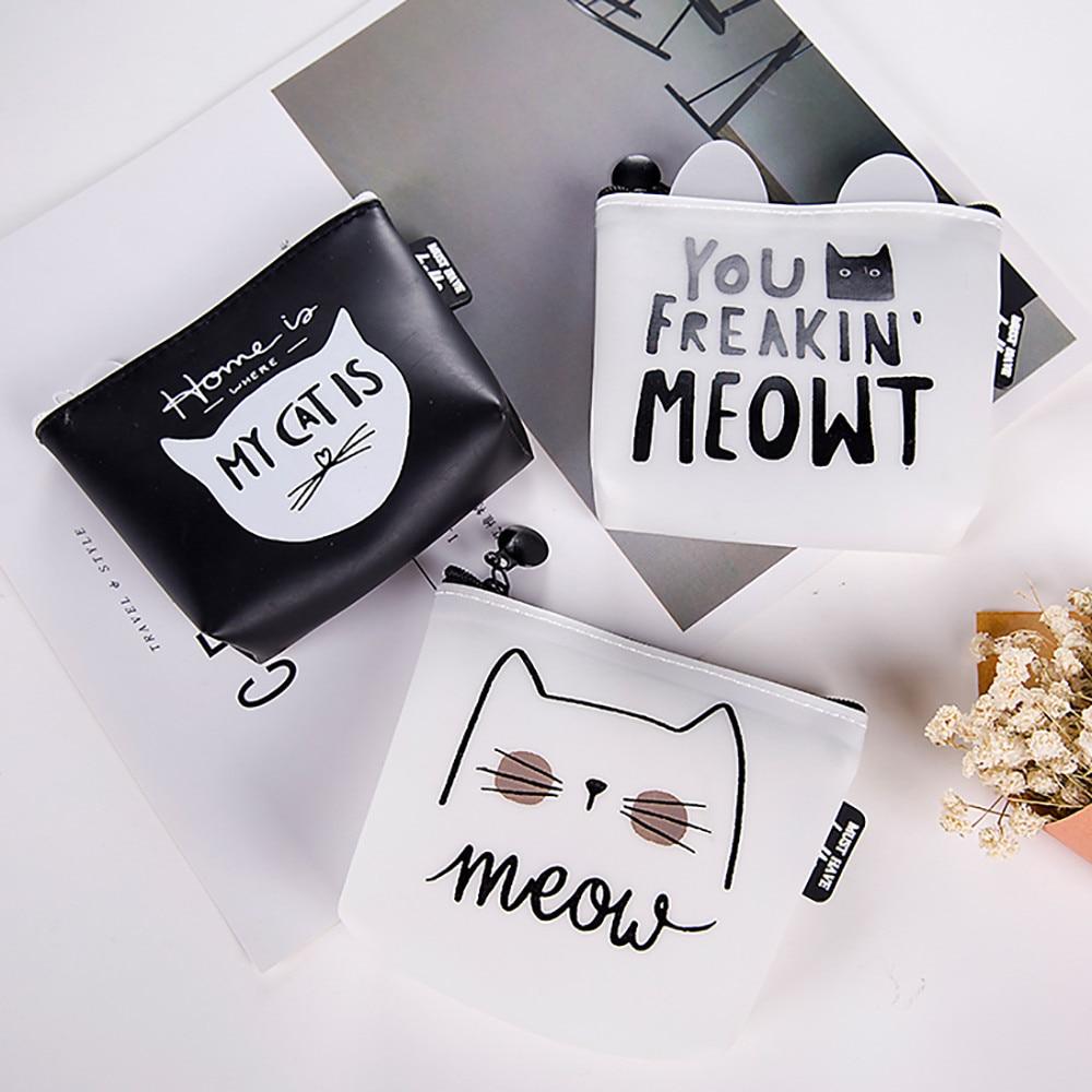 Snacks Coin Purse Women Transparent PU Zipper Change Coin Cartoon Cat Wallet Holders Money Bag For Kids Girl Gift 816