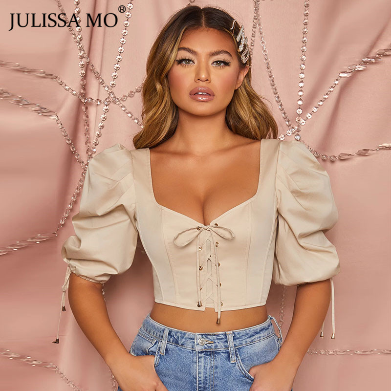 JULISSA MO V-neck Skinny Sexy Crop Top Women Elegant Puff Sleeve Bandage Tank Top Female Vintage Corset Bustier Cropped Tops Tee title=