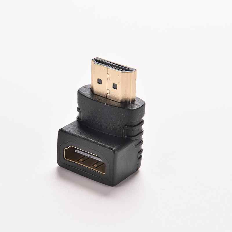 1PC 90 Degree HDTV 1080P HDMI Cable Connector HDMI V1.4 Right Angle  A Male to HDMI V1.4 B Female Gold Plated Cable Adapter