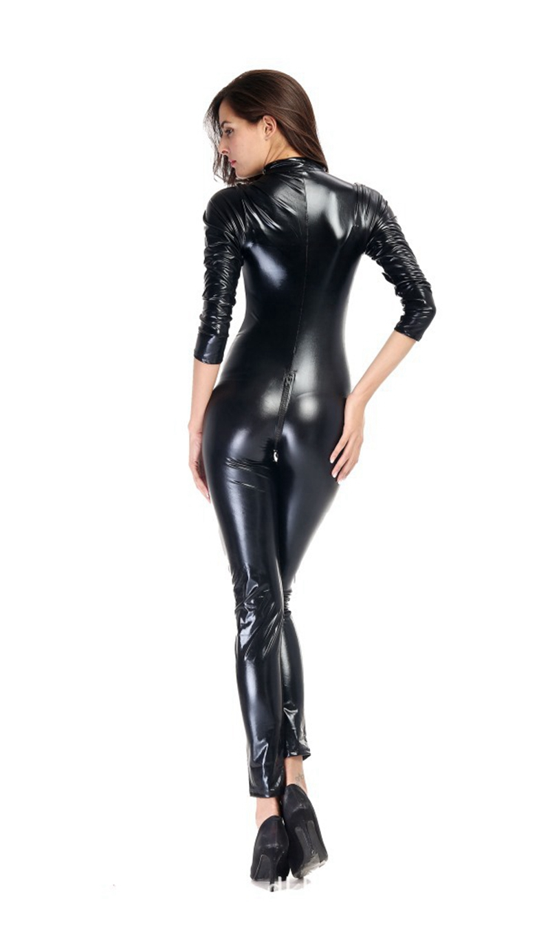 Hot 2 Way Zipper Sexy Women Faux Leather Bodysuit PVC Catsuit Erotic Wet Look Sexy Club Jumpsuit Dance Wear Erotic Latex Catsuit