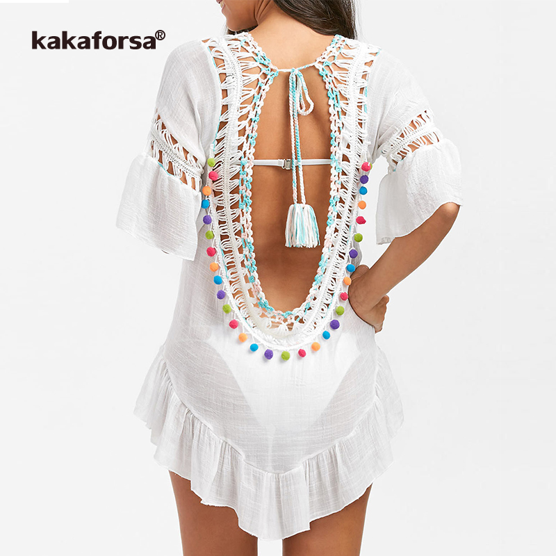 Kakaforsa 2019 Sexy Crochet Beach Cover Up Open Back Summer Beach Dress Cotton Ruffle Ball Swimwear Cover Up Solid Robe De Plage title=