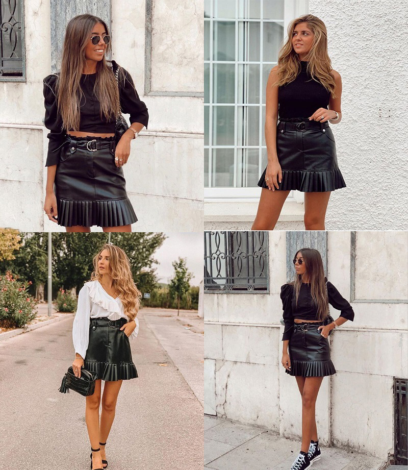Stylish Chic Pu Leather Mini Skirt with Belt Za Fashion Women High Waist Pleated Hem Skirts Casual Streetwear Party Faldas 3