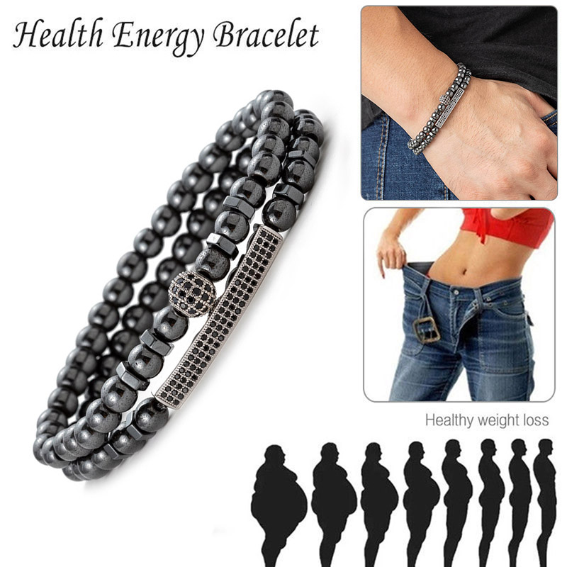 Weight Loss Round Black Stone Magnetic Therapy Bracelet Health Care Hematite Stretch Charming Bracelets Slimming Product