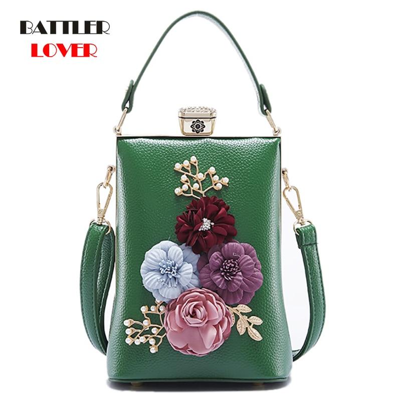 Crossbody Purse Evening Flap Bags Clutches Golden Flower Handbag For Wedding Prom Banquet Women Chain Strap Frame Ideal-gift