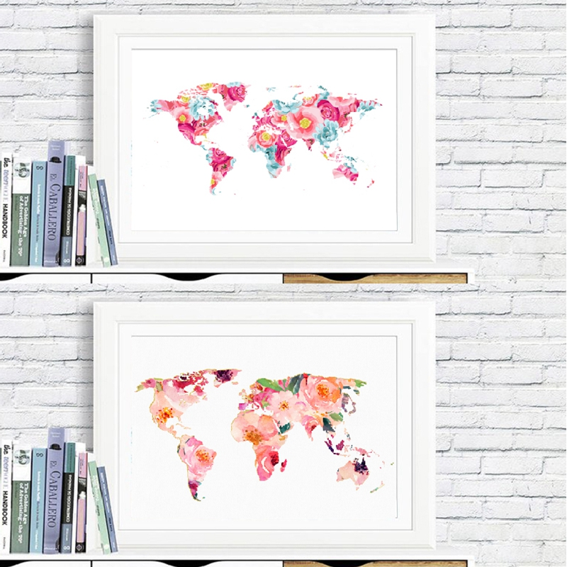 Floral World Map Wall Art Print Home Decor