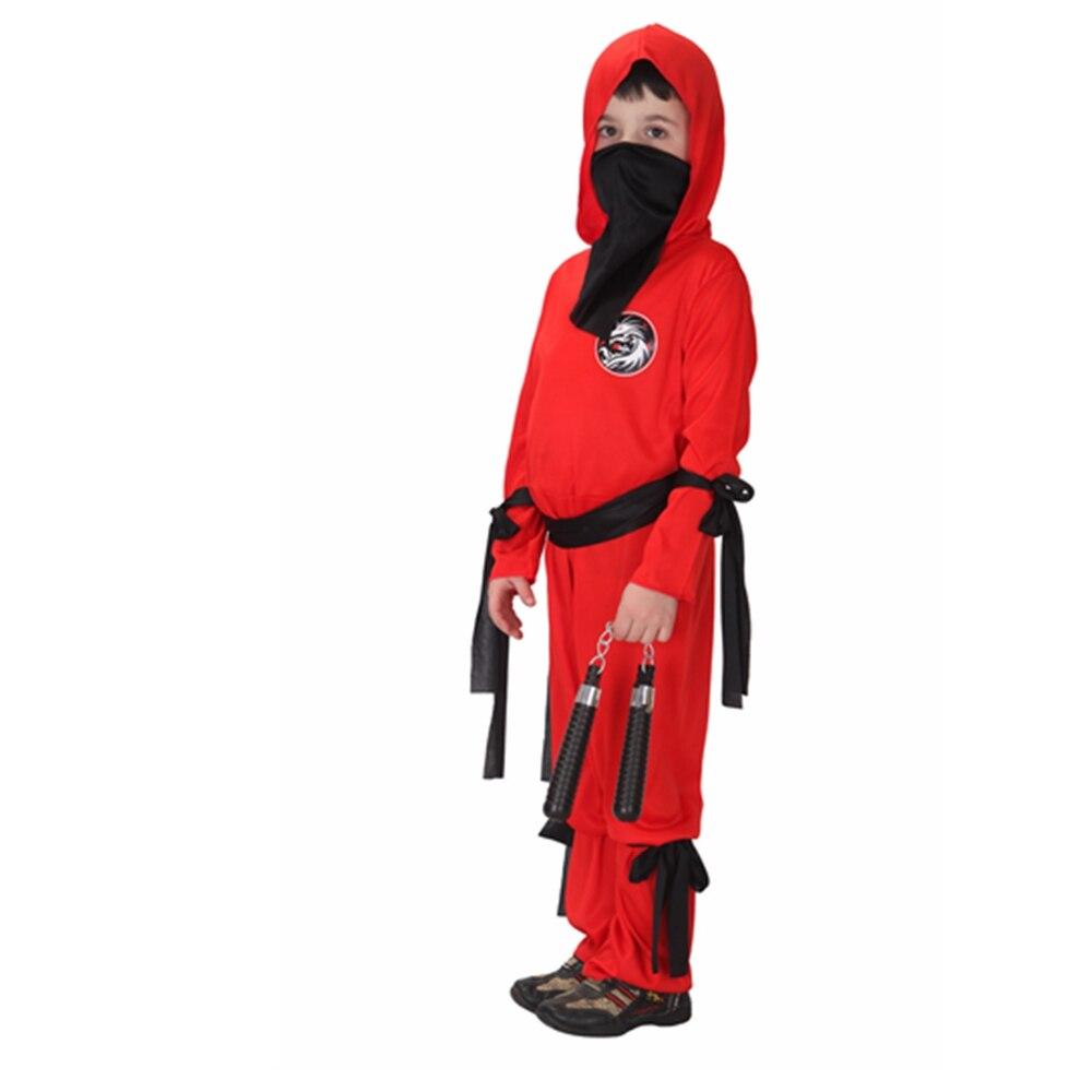 Ninja Samurai Costume à Capuche Dragon Design Costume Robe Fantaisie Garçons