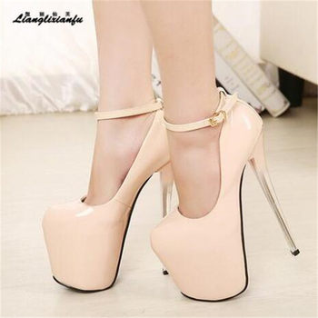 Crossdresser shoes woman Plataforms Pumps Fashion Show ladies 22cm Super thin high heels wedding Party Ankle strap Ladies pumps