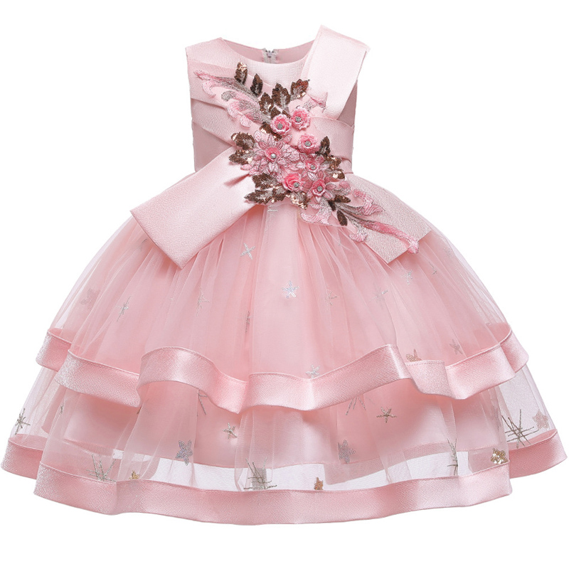 New Style Flower Girl Wedding Party One-character Shoulder Suspender Dress Girl Bow Nail Pearl Flower Banquet Ball Dress vestido